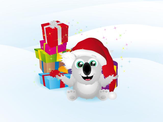Zeichnung eines Koalabären mit Nikolausen-Mütze und Geschenke im Hintergrund
