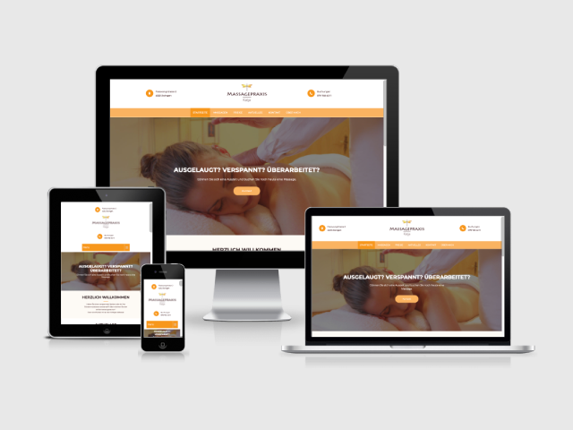 Verschiedene Geräte, die die Webseite der Massagepraxis Katja darstellen