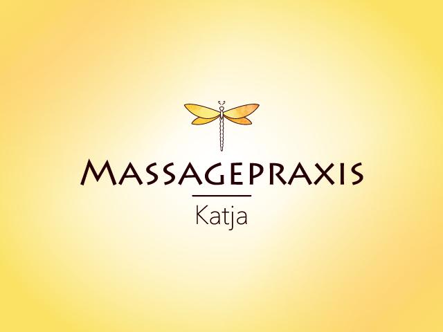 Logo Massagepraxis Katja mit Libelle und Schriftzug