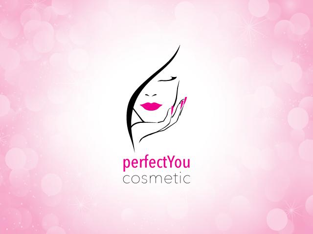 Kosmetikstudio-Logo mit einem Gesicht und einer Hand