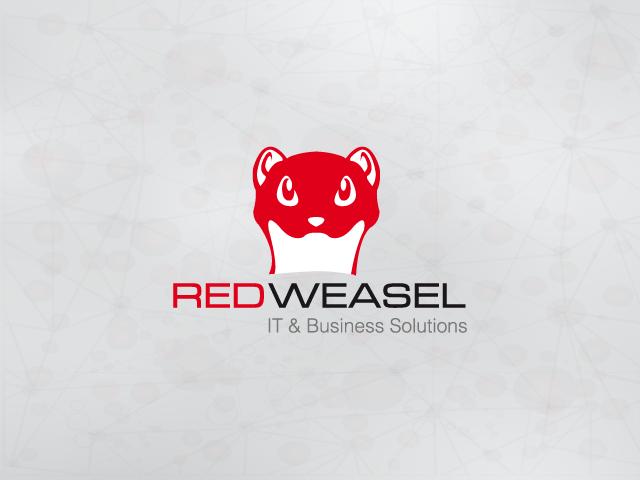 Logo mit einem roten Wiesel-Kopf